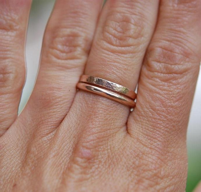 Rose Gold 2mm domed Wedding band- A Nice Slice of Gold