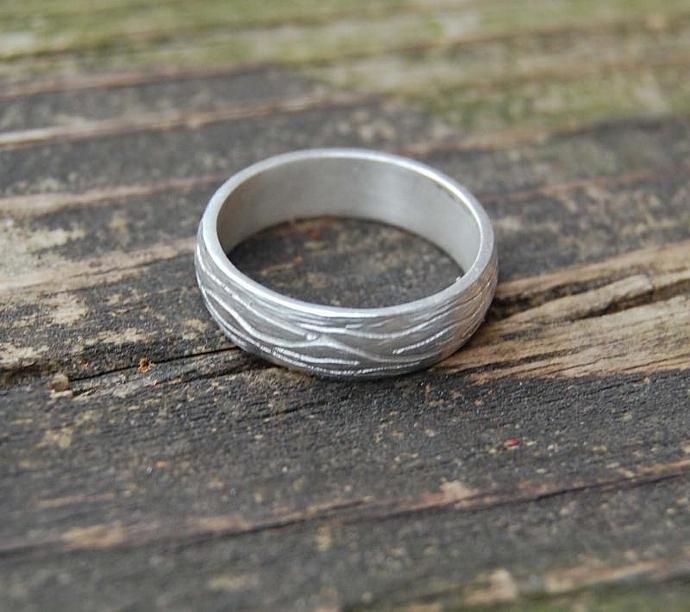 Tree Bark Sterling Silver Ring