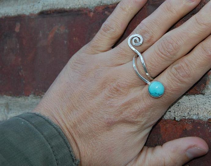 Double Turquise Fallen Sky Silver Ring