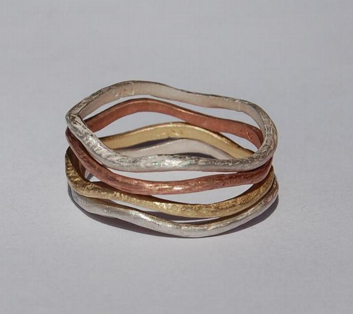 Gold and Silver Stackable Spring Vine bands
