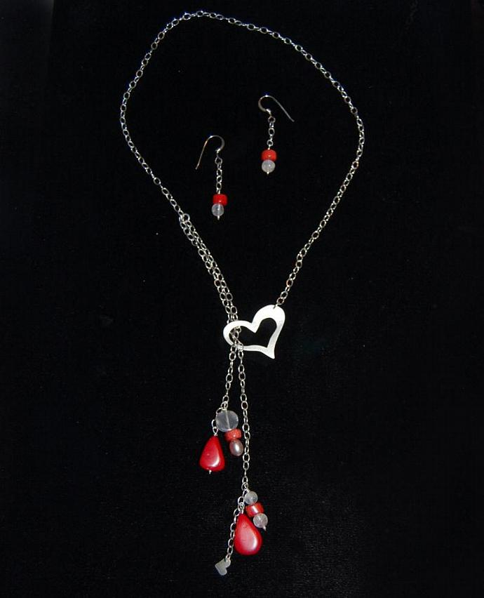 Heart Lariat and Earrings Set in Sterling Silver with Coral, Pearl and Quartz
