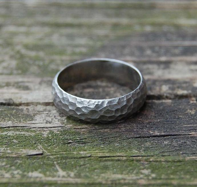 White Gold Crater Domed Wedding Band