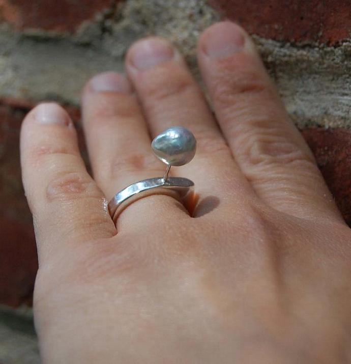 Floating Pearl and Sterling Silver Cocktail ring