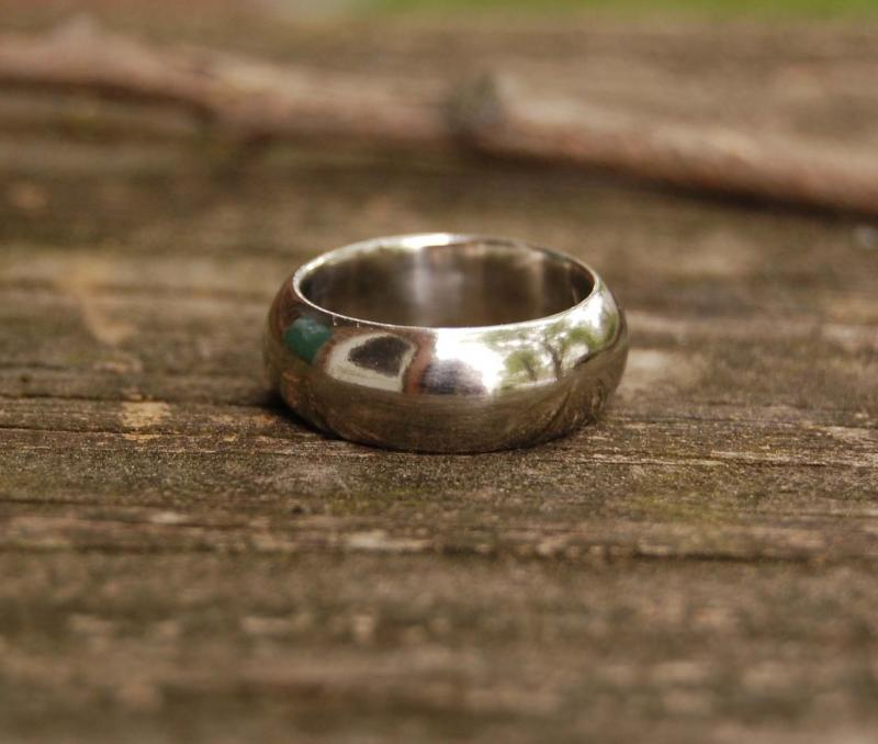 Thick White Gold Domed Wedding band by Zahour on Zibbet