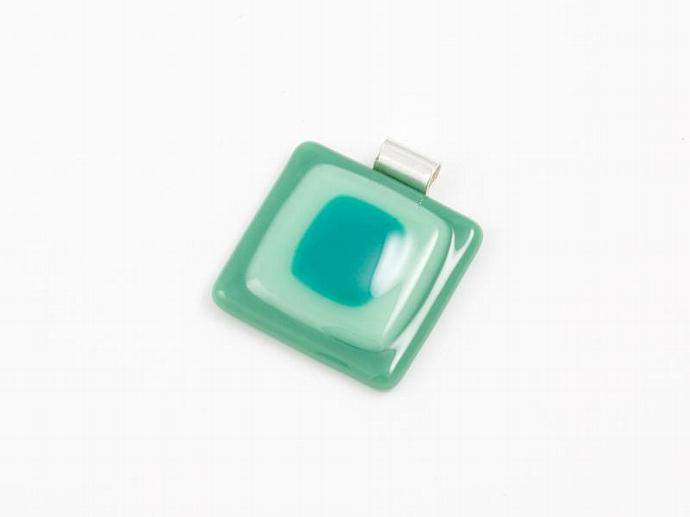 Fused Glass Pendant in Greens