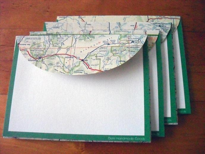 Recycled Map Stationery - 1956 New Mexico