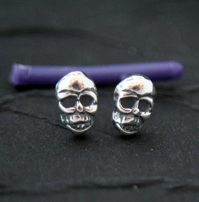 Teeny tiny sterling silver skull post earrings pair