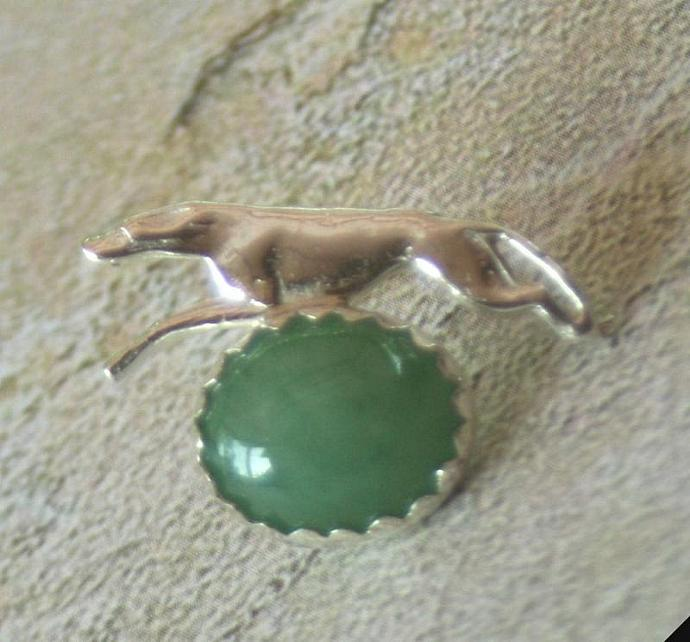 Green aventurine and sterling silver greyhound scatter pin