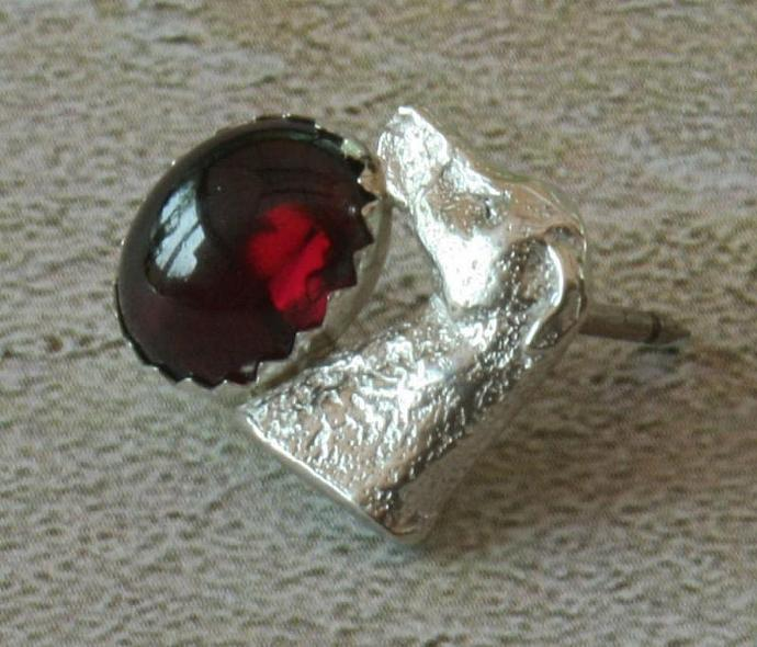 Garnet 8x10mm and sterling silver greyhound scatter pin