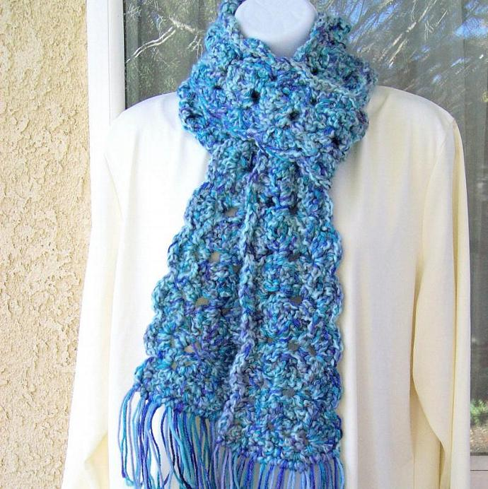 Winter Scarf, crocheted, chunky, extra long - Ocean  Medley