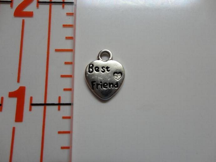 Best Friends Heart Charm - Silver