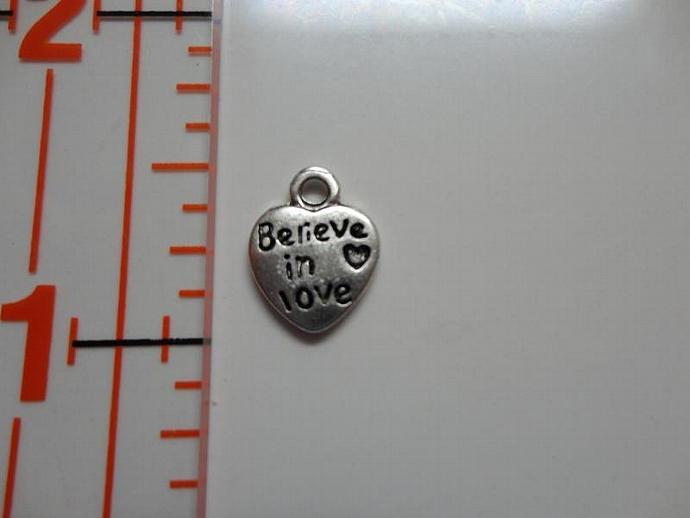 Believe In Love Heart Charm - Silver
