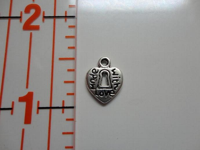 Made With Love Heart Lock Charm - Silver