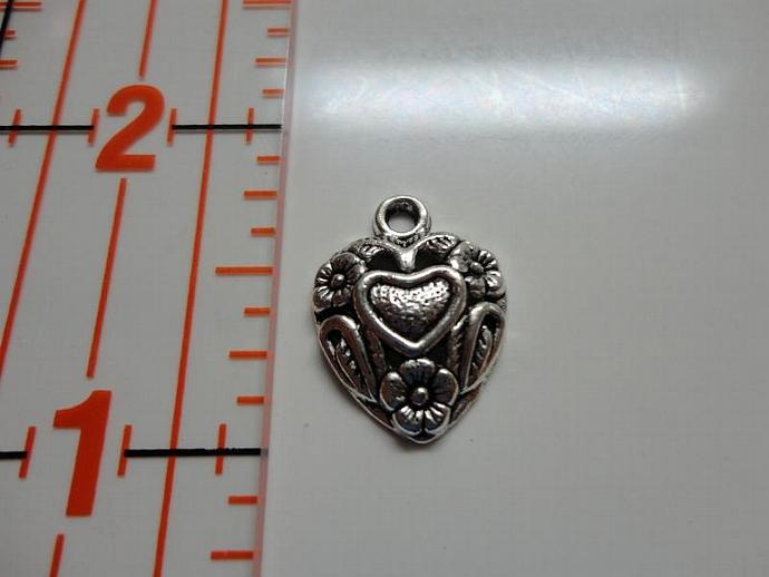 Heart With Flowers Charm - Silver
