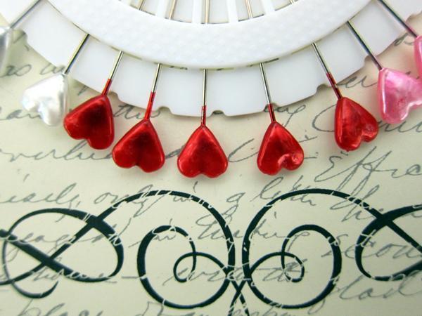 30pcs Heart Shape Stick Pins - 2  inch Multi Color