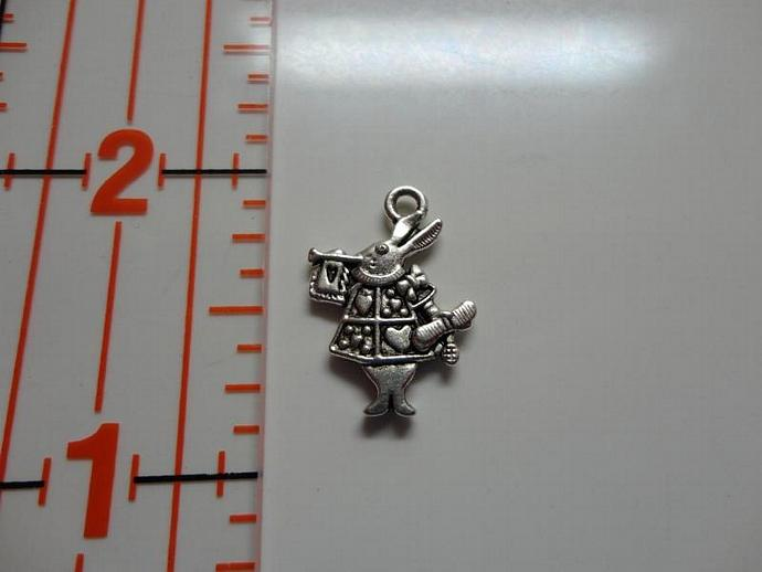 Alice in Wonderland Rabbit Charm - Silver