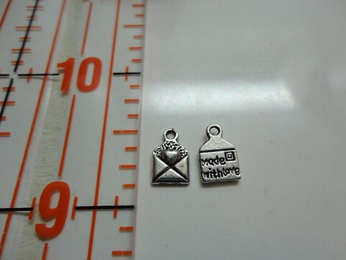 Made With Love Mail Envelope Charm - Silver