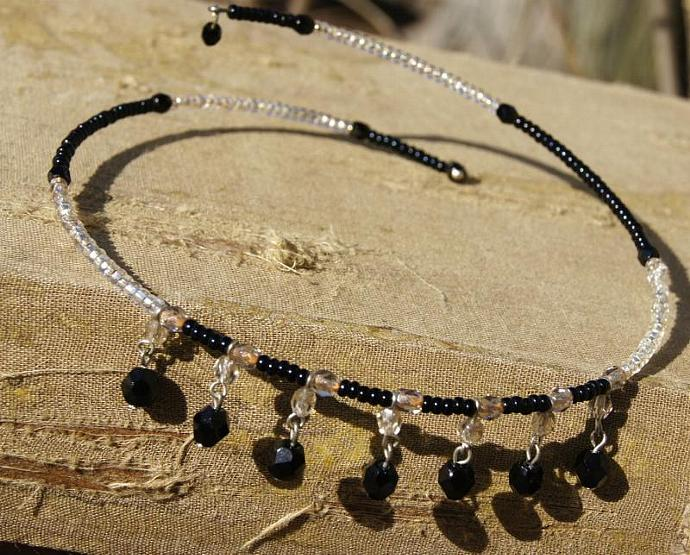 VINTAGE  (Unused NEW)  Czech Crystal Glass Black and Ice Clear COLLAR Necklace,