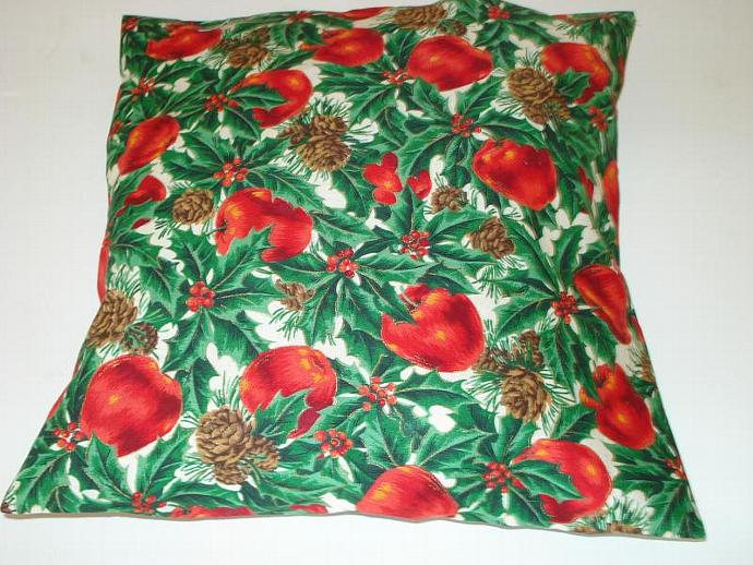 Christmas Apples, Holly and Pine Cones Pillow Cover 12 x 12