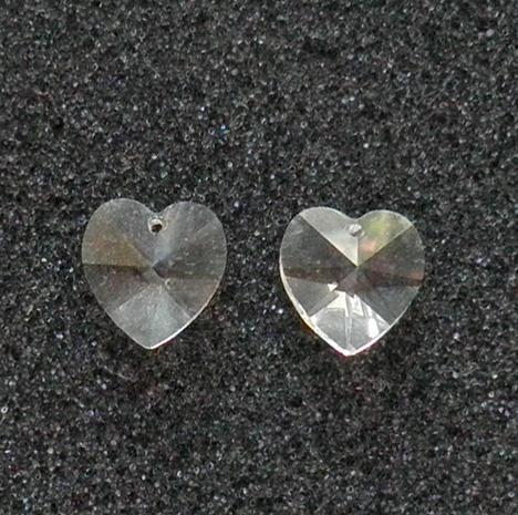 c7fd762fa8cf4 2 old Swarovski Article 6202 clear crystal 14 mm. heart pendants SW48