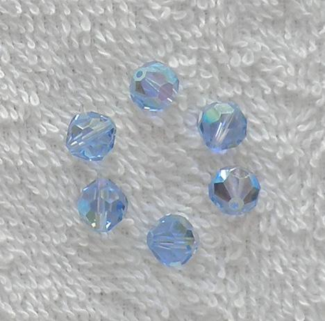 6 old Swarovski Article 5000 8 mm. Light Sapphire AB bead SW49