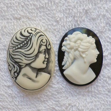 2 very beautiful black and white W. German acrylic cameos S64