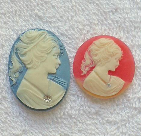 2 W. German acrylic cameos with groove for necklace to be added S63