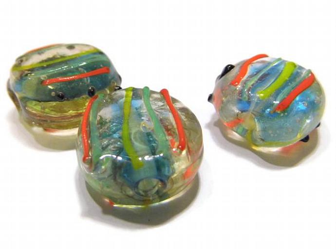 3 Coin Beads Clear  Striped with yellow green and orange Lampwork Beads