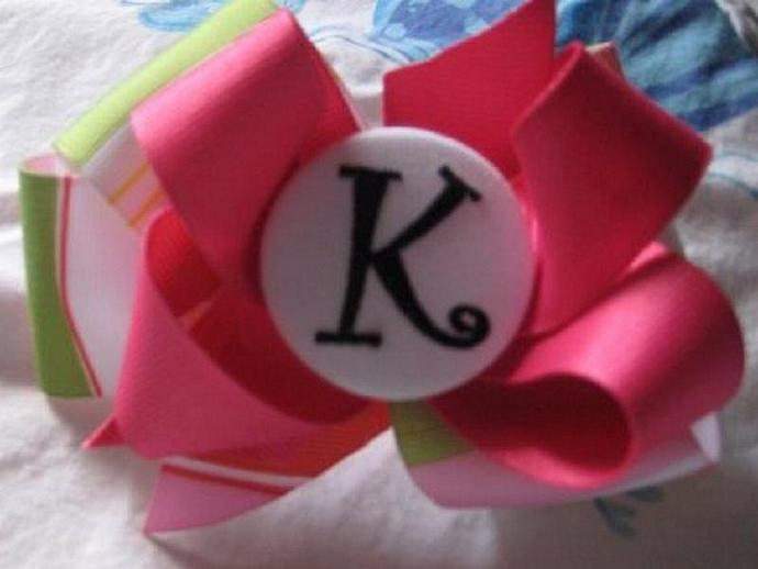 "Adorable ""K"" Monogrammed Hair Bow"