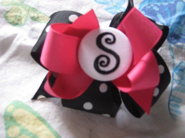 "Monogrammed ""S"" Hair Bow"