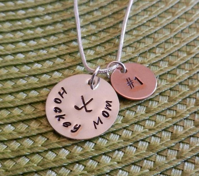 "Hockey Mom - Hand Stamped 3/4"" Sterling Silver and 1/2"" Copper Pendant"