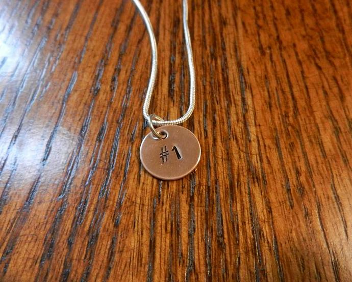 "1/2"" Copper Number Pendant - Hand Stamped Jewelry, Hand Stamped Pendant, Sports"