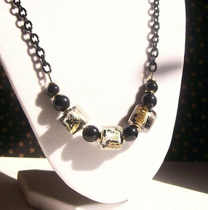 Black Gemstone and Lampwork Beaded Necklace