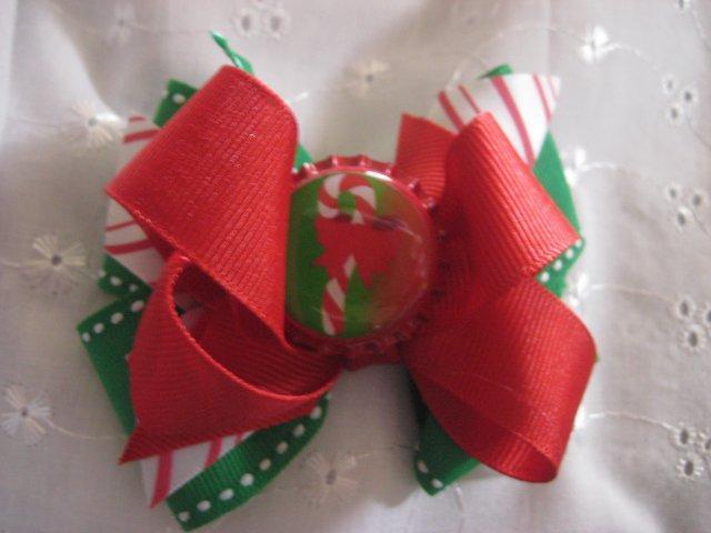 Candy Cane Christmas  hair Bow