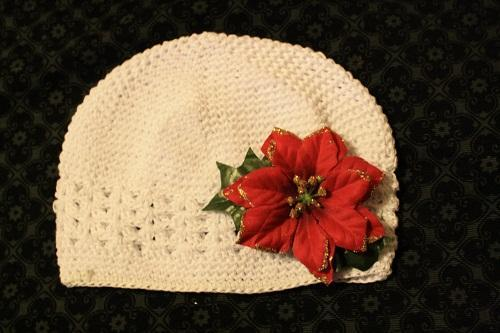 Chirstmas Crochet Hat with Christmas Flower