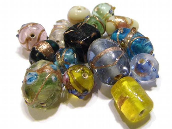 Lampwork Bead Mix Wedding Cake Beads