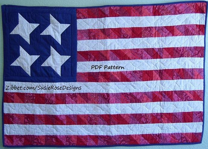 Pattern - Scrappy American Flag Wallhanging Patriotic, Red White & Blue Old