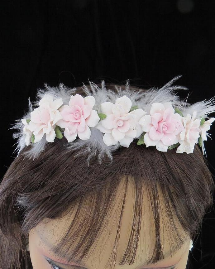 Light Pink Cold Porcelain Floral Headband