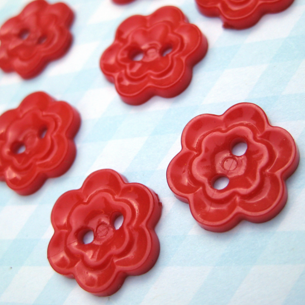 Set of 8 Vintage Red Flower Sewing Craft Buttons