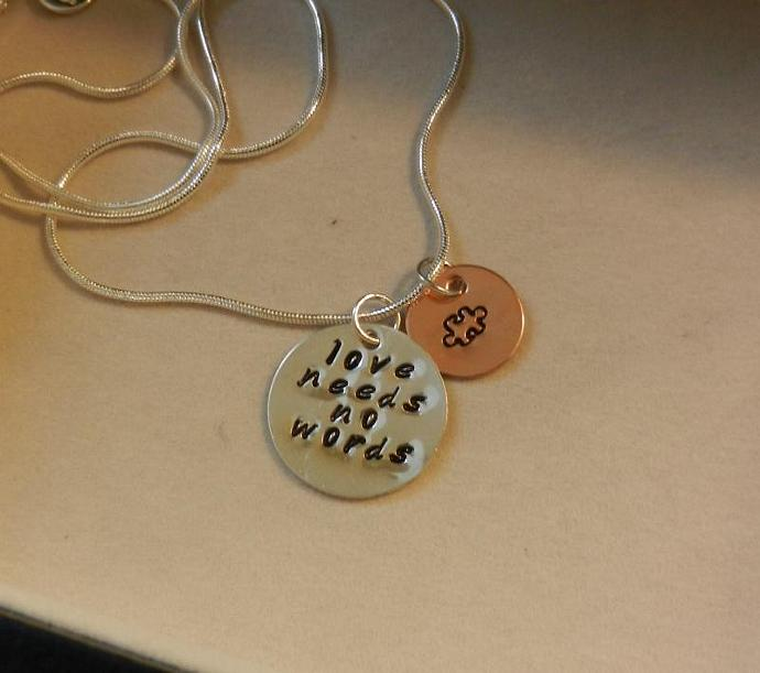 "Autism Awareness ""love needs no words"" - Hand Stamped 3/4"" Sterling Silver and"