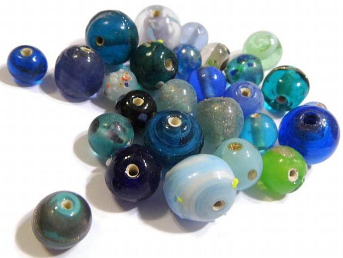 Lampwork Bead Mix Green and Blue Round Beads