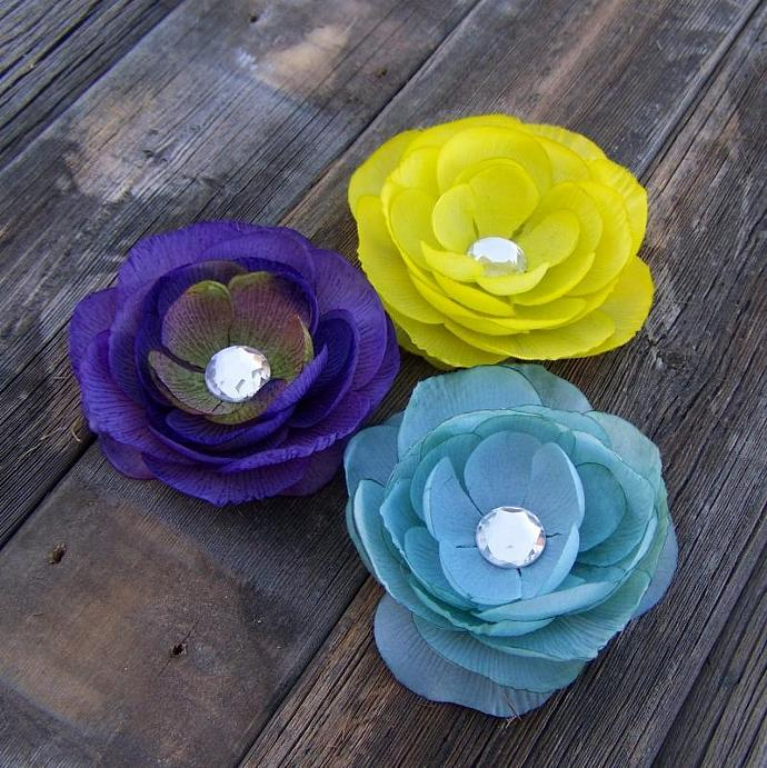 A Set of 3 Beautiful Flower Clips - Purple, Teal, and Yellow-Lime