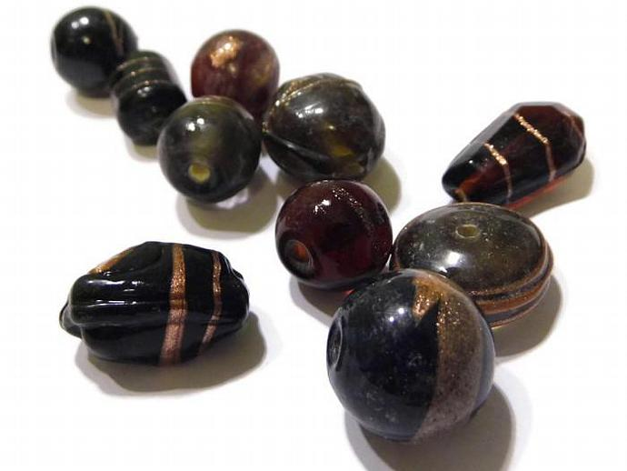 Lampwork Bead Mix Dark Gold Striped Mixed Shape Beads