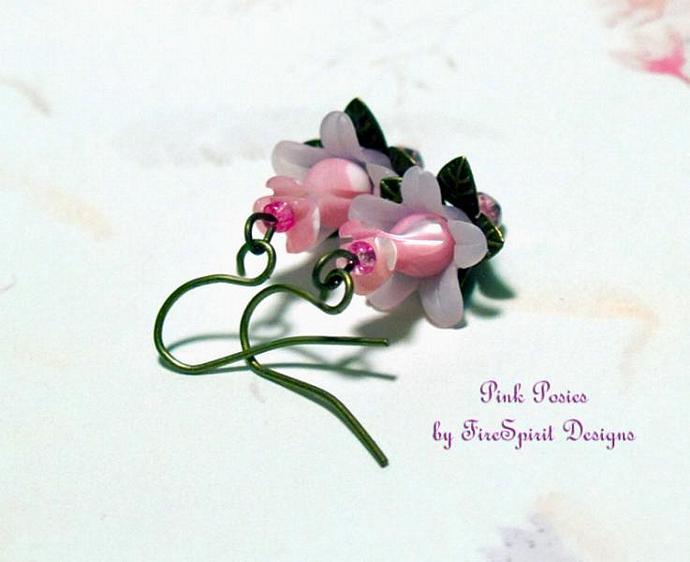 Pink Posies- artisan earrings