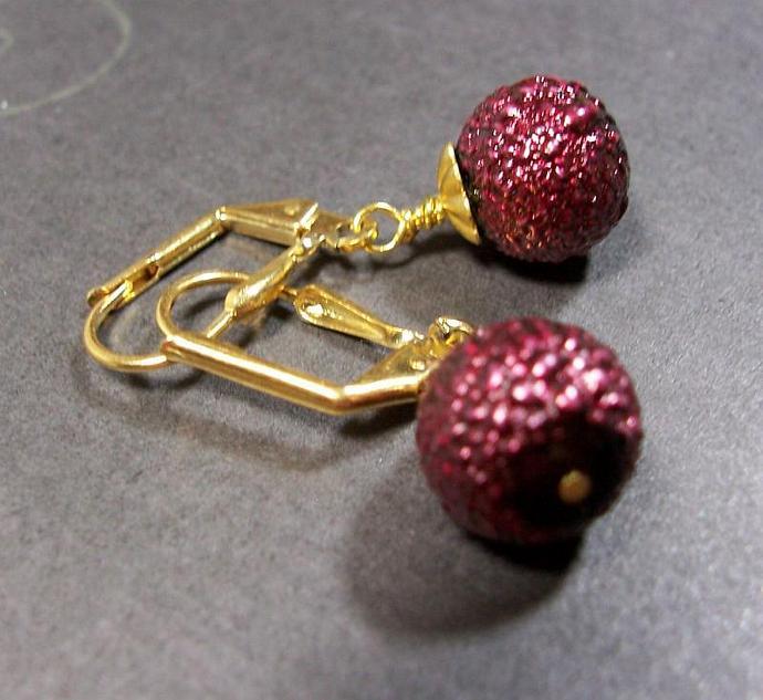 Purple Sparkle Bumpy Glass Bead Earrings
