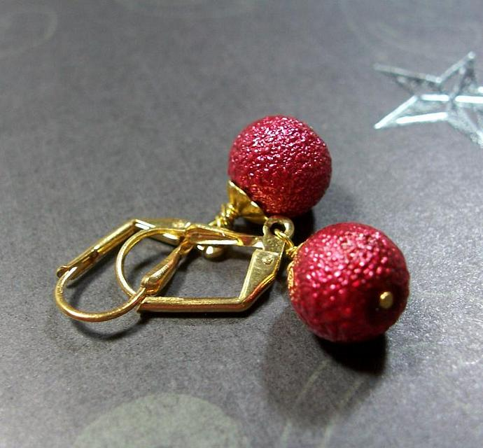 Red Sparkle Bumpy Glass Bead Earrings