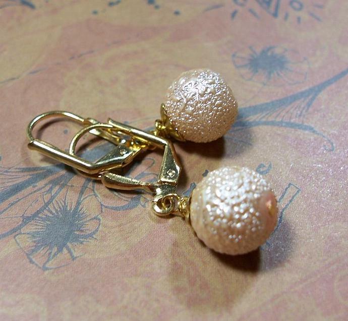 Golden Sparkle Bumpy Glass Bead Earrings