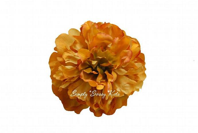 Burnt orange peony silk flower diy by simplysassysource on zibbet burnt orange peony silk flower diy hair clips mightylinksfo