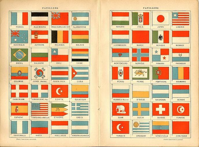 French Flags 1916 Antique Historic Engraving Francais Pavillons