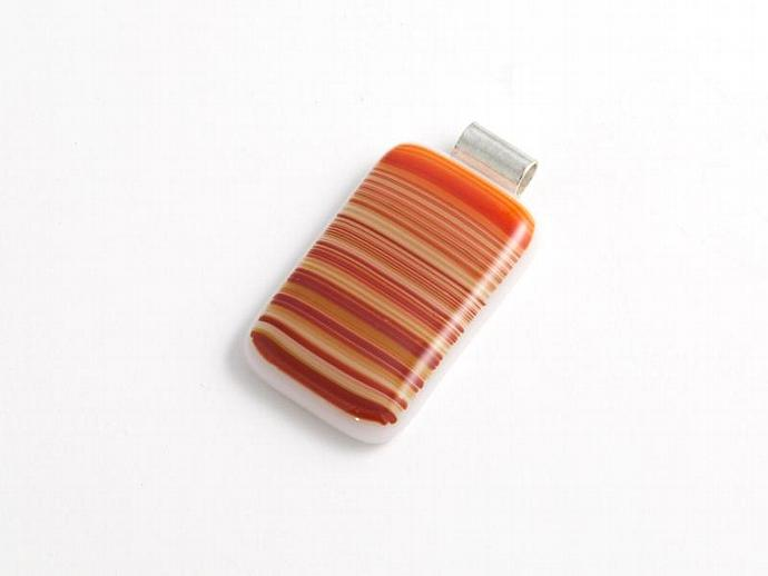 Striped Fused Glass Pendant in Earth tones